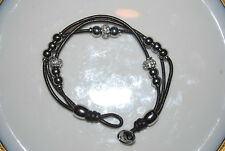 BEAUTIFUL FOSSIL BRACELET OF SILVER TONED METAL BEADS RHINESTONES AND LEATHER