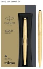 Parker Galaxy Gold Plated Body Clip Ball Point Pen BP GT Trim Fine Blue Ink New