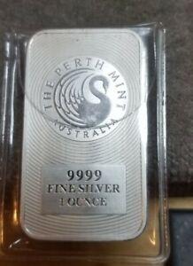 2018 Australian Perth Mint Silver Kangaroo 1 Oz. Bar .9999 Fine Silver B.U.