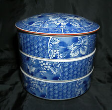 Andrea by Sadek Japanese 3 Tier Jubako Round Porcelain Keepsake Box Free S/H