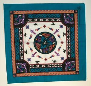 VINTAGE 90'S MULTICOLOR BANDANA WITH AZTEC GRAPHIC MADE IN THE USA