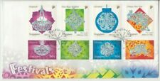 Stamps Singapore 2002 Christmas festival set of 8 on official FDC, popular