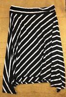 Allison Brittney Womens Skirt Size XL Black White Striped Stretch Knee Length