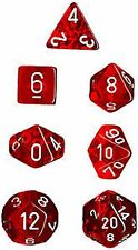 Chessex Translucent Polyhedral dice set red with white numbers 7 die set