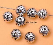 10pcs Tibetan Silver Charm Hollow Bead Spacer Beads 10mm Jewelry Findings D3022