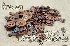 BROWN - Mixed Bulk Buttons 250+ Craft Scrapbooking Bouquet Mixed Colours