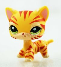 Rare Orange yellow Tiger Cat Kitten Kitty Hasbro Littlest Pet Shop LPS Toy #1451