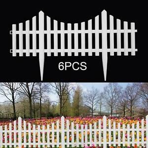 6 Plastic Wooden Effect Lawn Border Edge Garden Edging Picket Fencing Set UK
