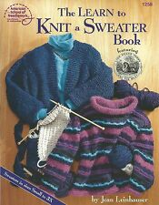 Learn to Knit a Sweater Book Knitting Instructions How To Sizes Small-3X NEW