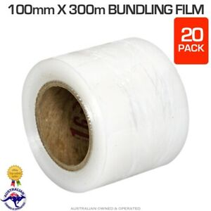 20 Rolls Bundling Film Stretch Shrink Wrap 100mm x 300m Bundle Pallet Wrapping