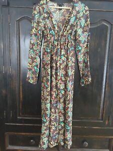 New Women's duster swim /lingerie cover up 100% silk caftan dress robe floral XS