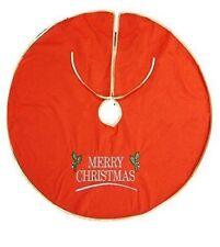 árbol de Navidad Falda Rojo Fieltro ajuste del Oro 90cm Base Cubierta Decoración