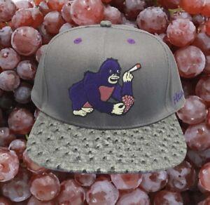 Very Rare Marijuana Strain Grape Ape Faux Ostrich Leather Brim Snapback Hat