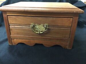 VINTAGE SMALL HEAVY WOODEN ONE DRAWER CHEST VERY SOLID