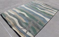 R17701 Green Bold Stripe Contemporary Tibetan Area Rug 6' X 9' Handmade in Nepal