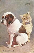Trutz nicht so! Katze und Hund, alte Ak signiert Ulrich Weber, cat-chat-dog