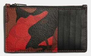 COACH Camo Print Men's Signature Coated Canvas Leather Zip Card Case Red **NWT**