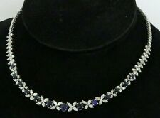 Heavy 18K White Gold Finish 20.80 CTW  diamond/Ceylon sapphire formal necklace