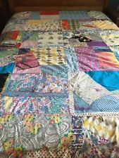 Vintage 1940-1960 Cutter/Repair Patchwork Cotton & Feedsack Tied Quilt, Faded.