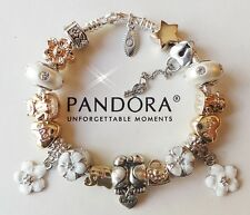 Authentic PANDORA Charm Bracelet with LOVE Silver Gold Charms Beads Heart MOM
