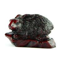 Chinese Horoscope Zodiac Rabbit Statue Figurine Feng Shui Animal Redwood Color