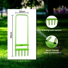 More details for professional 5 prong grass lawn aerator plant growth outdoor garden hollow tine