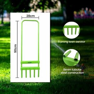 Professional 5 Prong Grass Lawn Aerator Plant Growth Outdoor Garden Hollow Tine