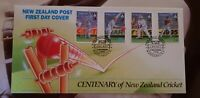 New Zealand  Centenary of NZ Crivket set of 4 stamps    FIRST DAY COVER