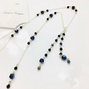 """Beaded Lariat Necklace Black Aurora Borealis Faceted Beads Silver Tone 28"""""""