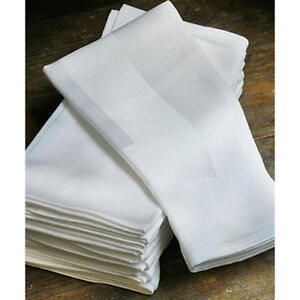 Premium Satin Band Napkins Linen Party Hotel Cotton Table Cloth White Serviette