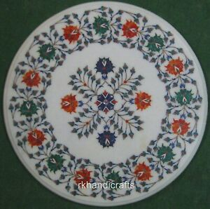 21 Inches Marble Patio Table Top with Multi Gemstones Inlaid Round Coffee Table