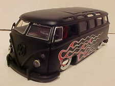 1962 VW Bus Volkswagen Samba Diecast Car 1:24 Jada Toys 8inch Black Flame NO BOX