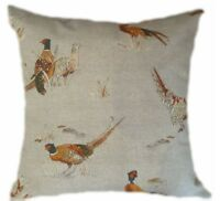"16"" CUSHION COVERS- made in PHEASANT BIRD col. neutral linen  + zip"