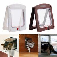 UK Pet door 4 way Lockable Small Medium Large Cat Puppy Flap Magnetic Door Frame