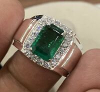 925 Sterling Silver 2.86 cts Natural Green Emerald Octagon Men Ring Size 6 to 15