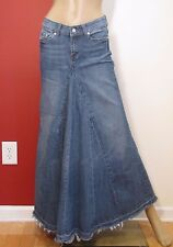 YOUNIQUE BLUE JEAN FADED LONG MAXI DISTRESSED MODEST PLEATED DENIM SKIRT SZ 5