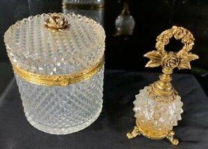 Vintage Cut Diamond Pattern Glass Ormolu Trinket Hinged Box and Perfume Bottle