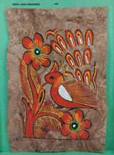 VINTAGE AMATE BARK PAPER PAINTING 5.50 x 3.75 INC COLOR on BROWN FROM MEXICO #25