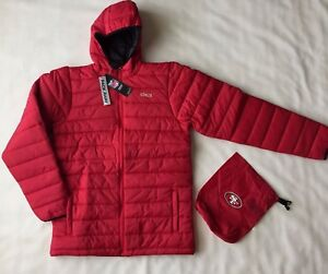 NFL San Francisco 49ers Youth Boys Solid Packaway Puffer Red Jacket, Sz L