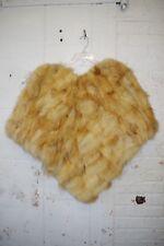 RARE Vintage Genuine Fluffy Shaggy Fur Poncho Cape One Size Shaded Honey Orange