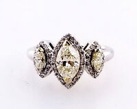 1CT Diamond Ring Fancy Yellow Color Marquise Cut 3 Stones 14K Gold Size 6