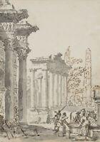 G.PANNINI(*1691) Umkreis, Antike Tempelruinen, 18.Jhd., Lavierte Federzeichnung