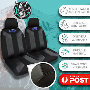 FORD COURIER GENUINE FUSION BLACK/BLUE FRONT CAR SEAT COVERS EMBROIDERED LOGO
