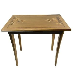 BUCHSCHMID GRETAUX German Characters Wood Inlay Marquetry End Table - RARE!