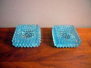 2 VINTAGE FENTON GLASS BABY BLUE HOB NOB HOBNAIL SPIKE ASHTRAY Square