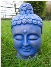 BUDDHA HEAD GARDEN ORNAMENT - BLUE - HEAVY STONE