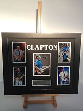 UNIQUE PROFESSIONALLY FRAMED, SIGNED ERIC CLAPTON PHOTO COLLAGE WITH PLAQUE.