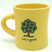 Life Is Good Hearts Apple Tree Heavy Yellow Coffee Mug Cup Love Fall Autumn
