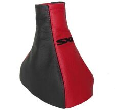 """Gear Stick Gaiter For Vauxhall Corsa C 2000-2006 Black & Red Leather """"SXI"""" Logo"""