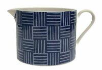 Crate & Barrel RAFIA Creamer Pitcher Blue White Blue Weave Pattern Fine China
